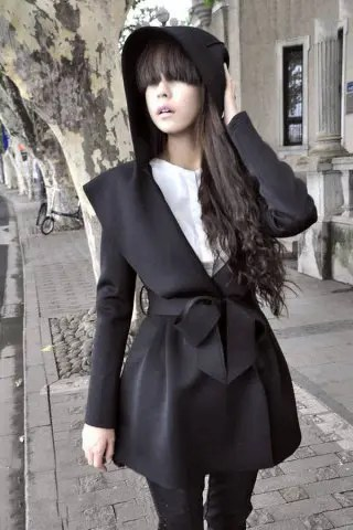 Shops Stylish Long Sleeves Solid Color Belt Hooded Trench Coat For Women