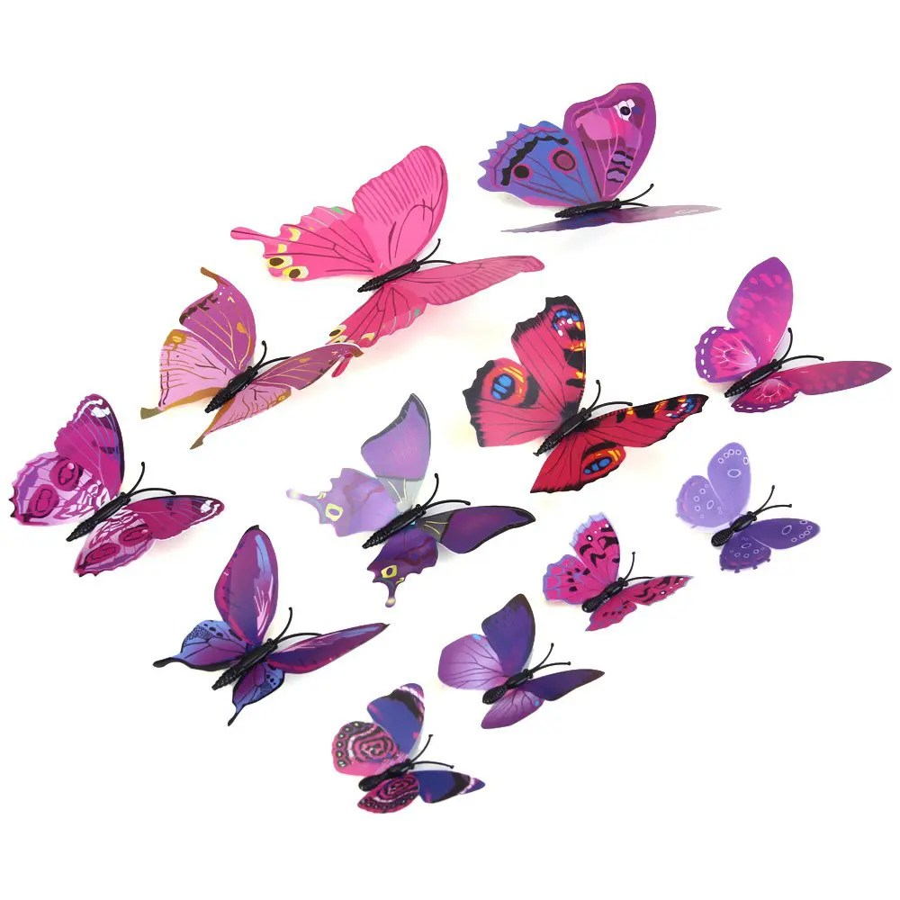 41 Off 12pcs Pvc 3d Butterfly Wall Decor Cute Butterflies Wall Stickers Art Decals Home Decoration Random Pattern Rosegal