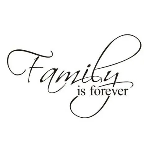 Black Removable Words Family Is Forever Solid Color Wall