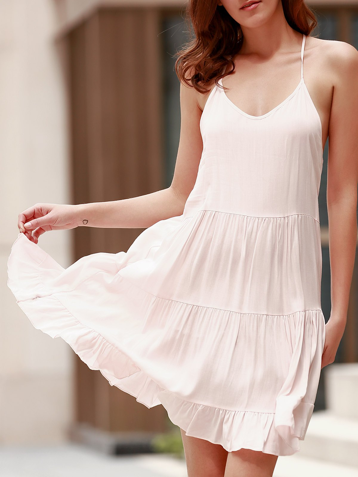 86 Off Cute Spaghetti Strap Backless Summer Dress For
