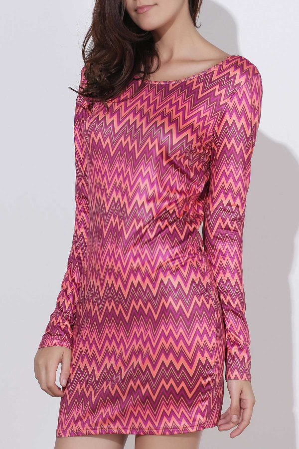Sexy Backless Colorful Chevron Printed Bodycon