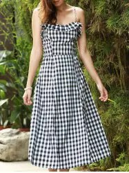 Strappy Gingham Check Ruffle Sleeveless Tea Length Skater Dress - WHITE AND BLACK L