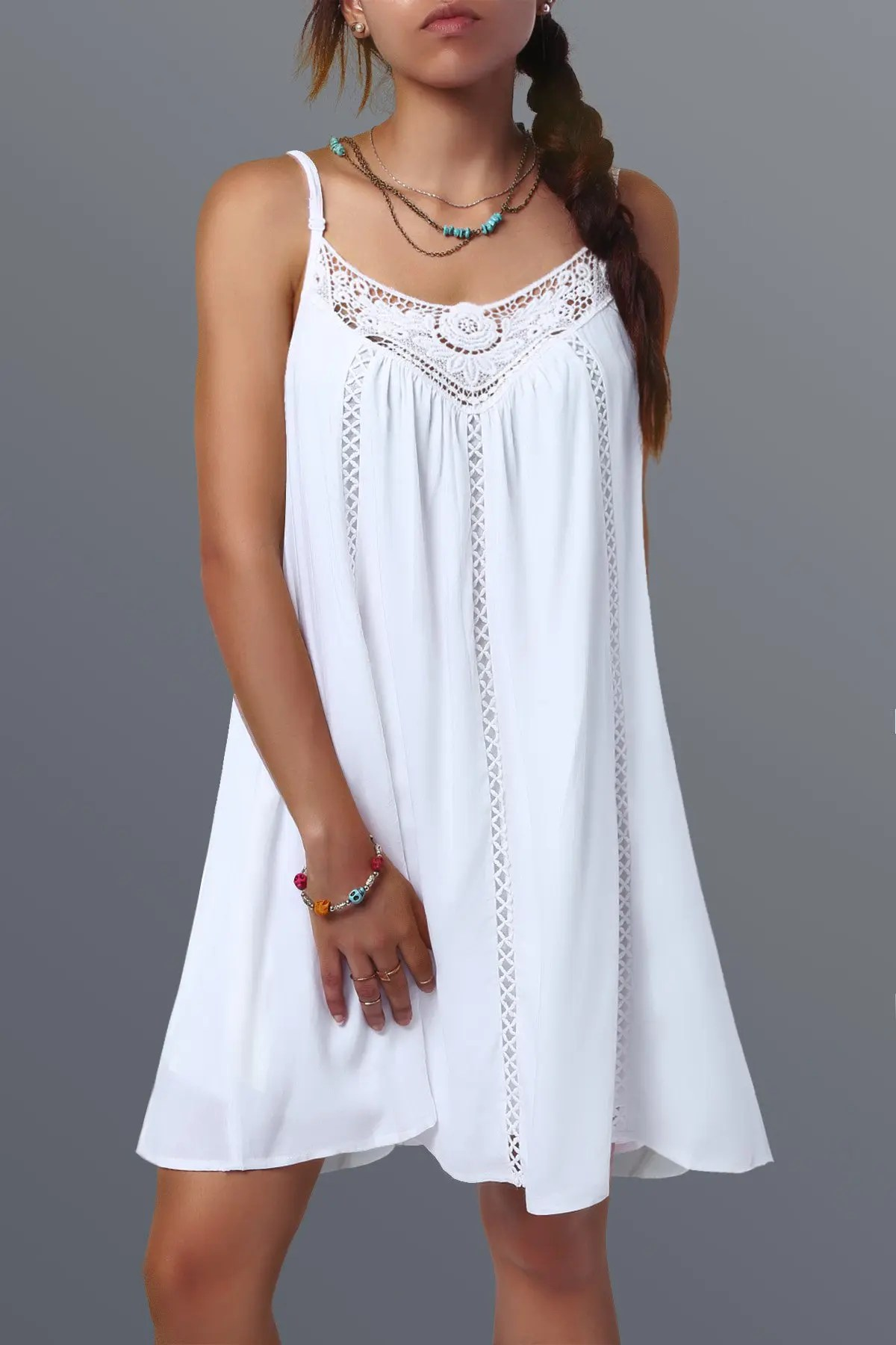 52 OFF Spaghetti Strap Lace Splicing Sleeveless Shift Babydoll Dress  Rosegal
