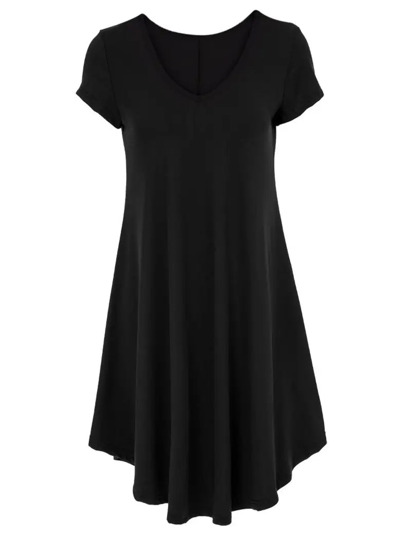 Black 2xl Vneck Ruffled Casual Tunic Dress With Sleeves  RoseGalcom