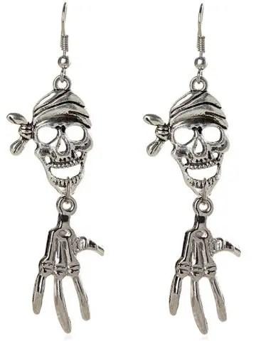 Fancy Pair of Halloween Pirate Skull Earrings SILVER