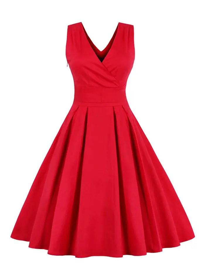 Red M Retro Sleeveless Tea Length Party Dress