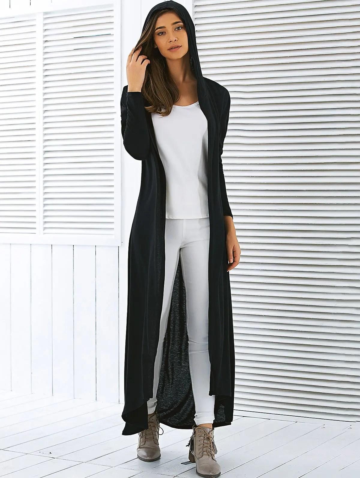 2018 Hooded Maxi Long Duster Cardigan In Black Xl