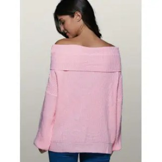 Lantern Sleeve Off The Shoulder Sweater - PINK XL
