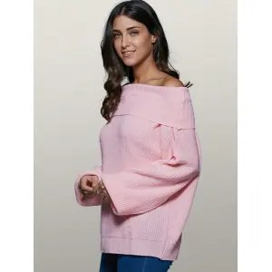 Lantern Sleeve Off The Shoulder Sweater - PINK XL