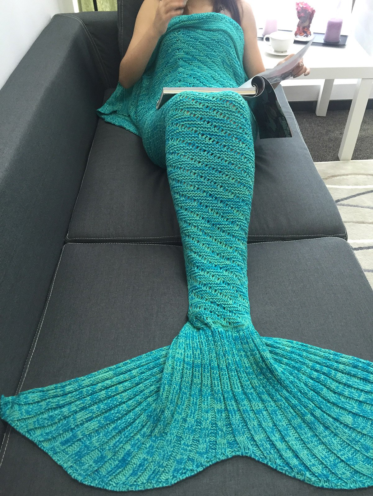2018 Bedroom Decor Hollow Out Crochet Knit Mermaid Blanket