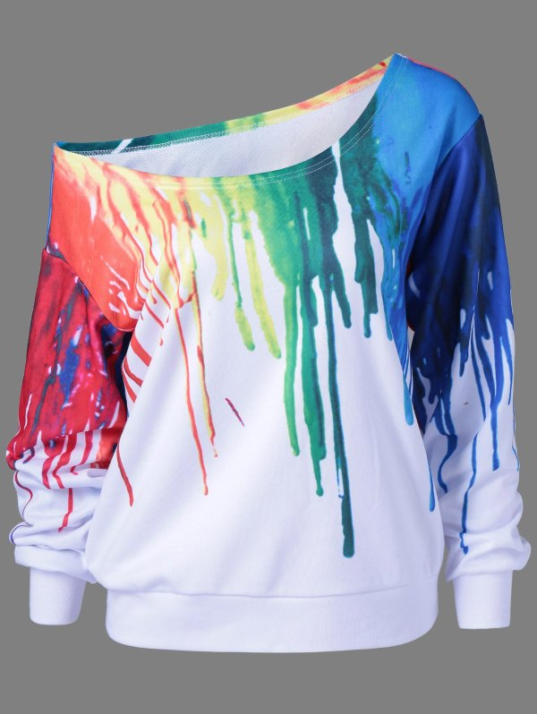 2018 Paint Drip Skew Collar Sweatshirt In White