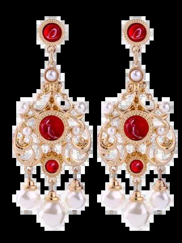 Affordable Artificial Ruby Pearl Chandelier Earrings