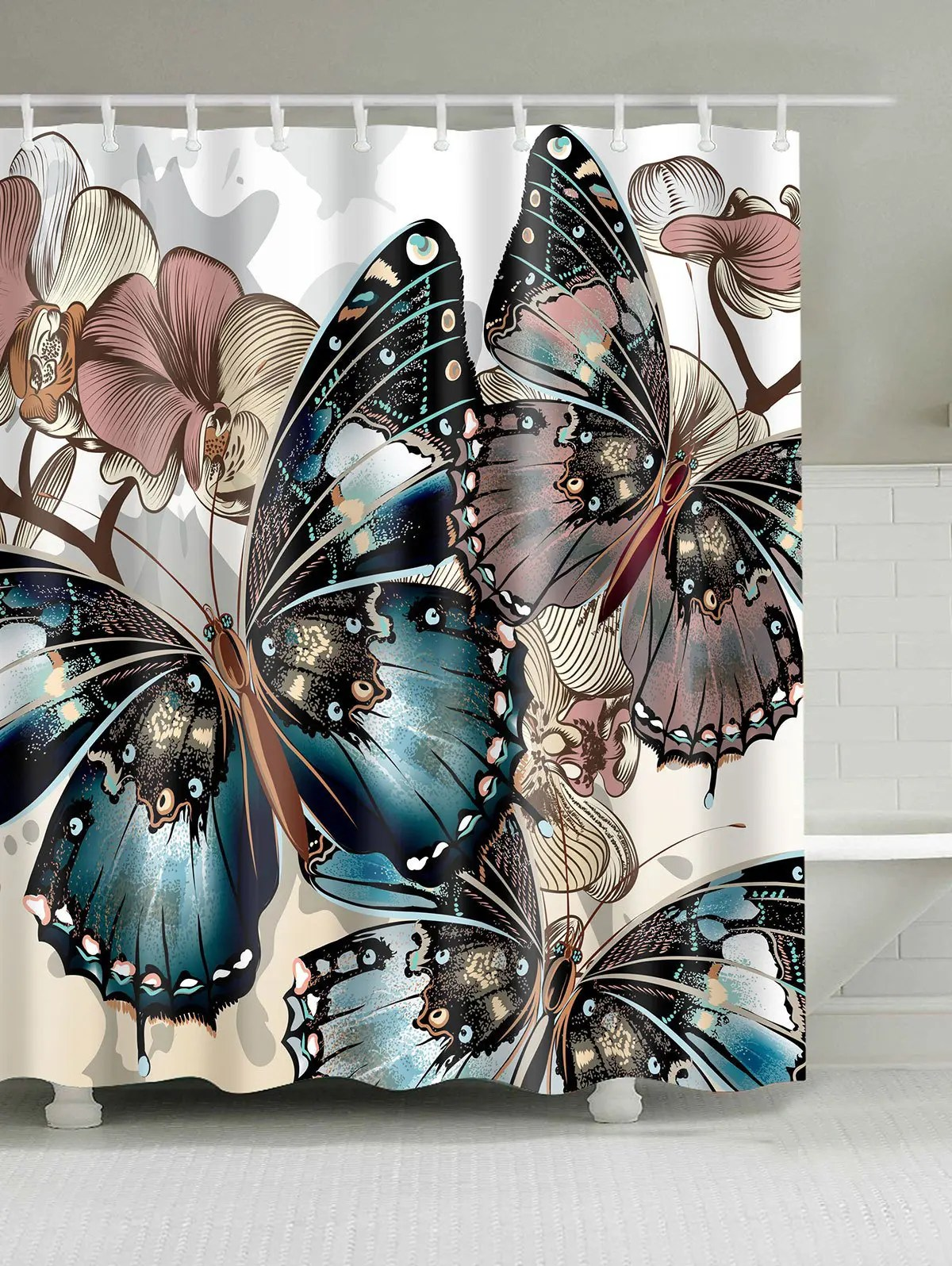 36 OFF Butterfly Print Water Repellent Shower Curtain  Rosegal