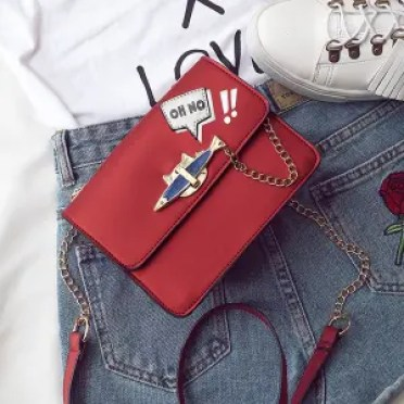 Oh No Chains Cross Body Bag - RED