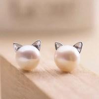 2018 Artificial Pearl Kitten Stud Tiny Earrings In Silver ...