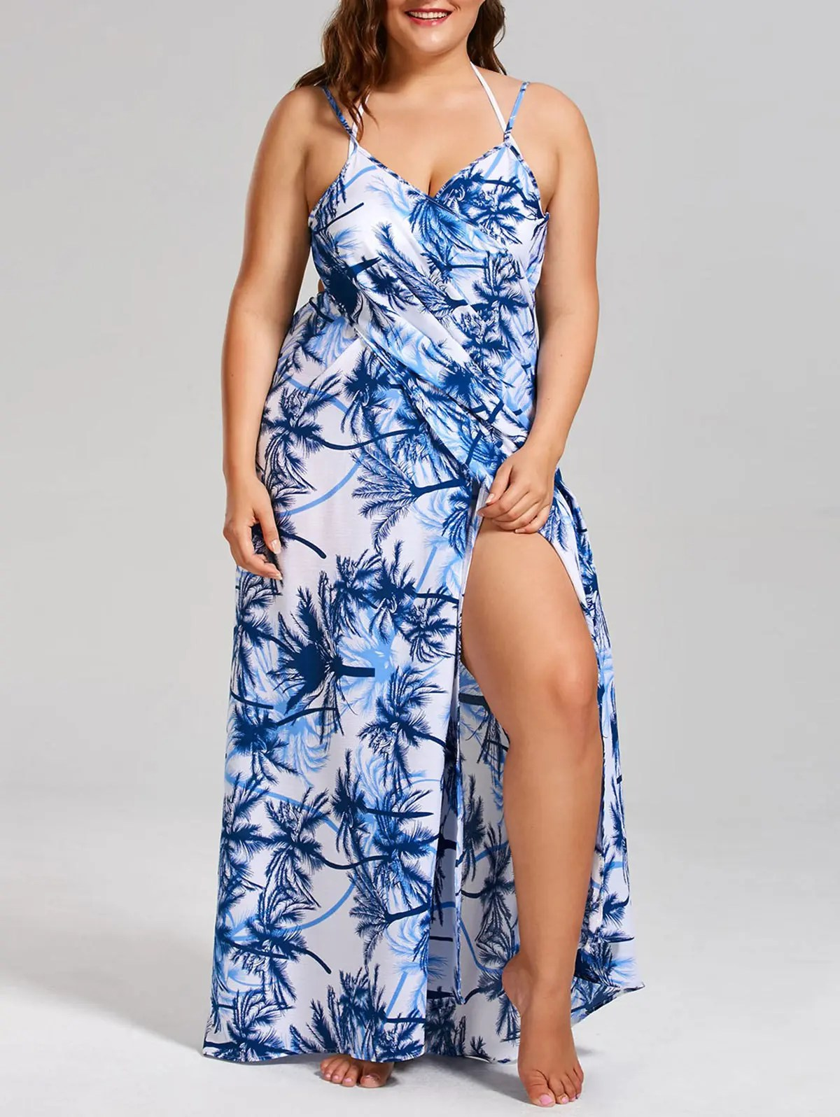 30 Off Coconut Tree Print Plus Size Cover Up Dress