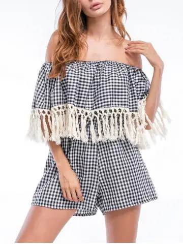 Risultati immagini per https://www.rosegal.com/jumpsuits-rompers/tassels-off-the-shoulder-checked-1195512.html