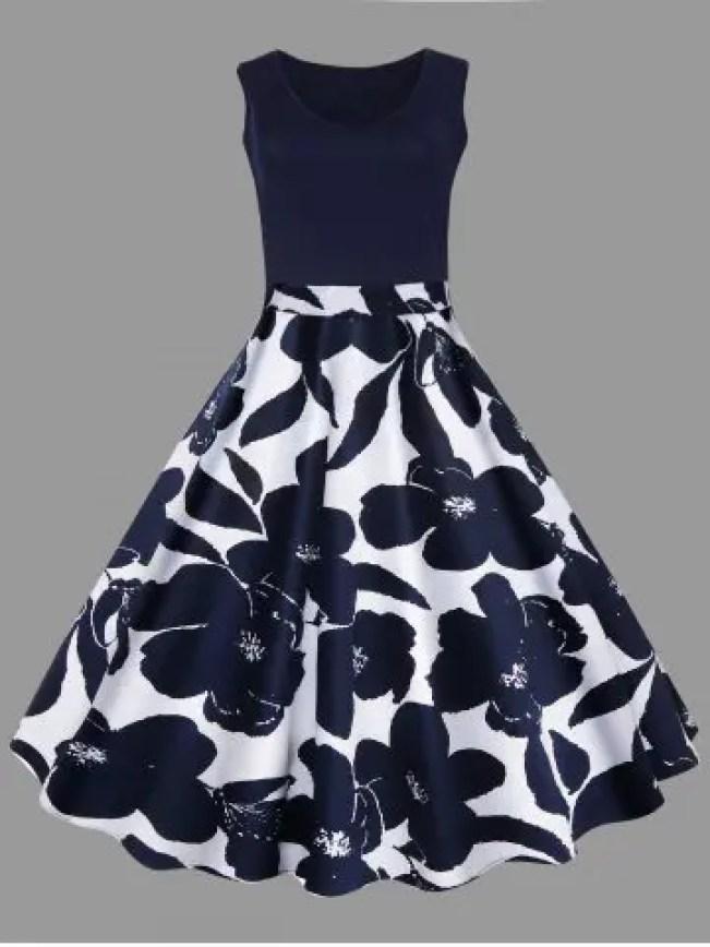 Online Plus Size Floral Printed Vintage Midi Flare Dress