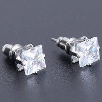 Silver Faux Diamond Square Stud Earrings | RoseGal.com