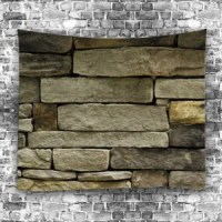 Earthy W79 Inch * L59 Inch Stone Brick Wall Print Tapestry ...