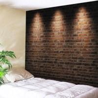 2018 Lights Brick Wall Print Tapestry Wall Hanging Art ...