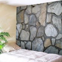 Gray W59 Inch * L51 Inch Stone Wall Print Tapestry Wall ...