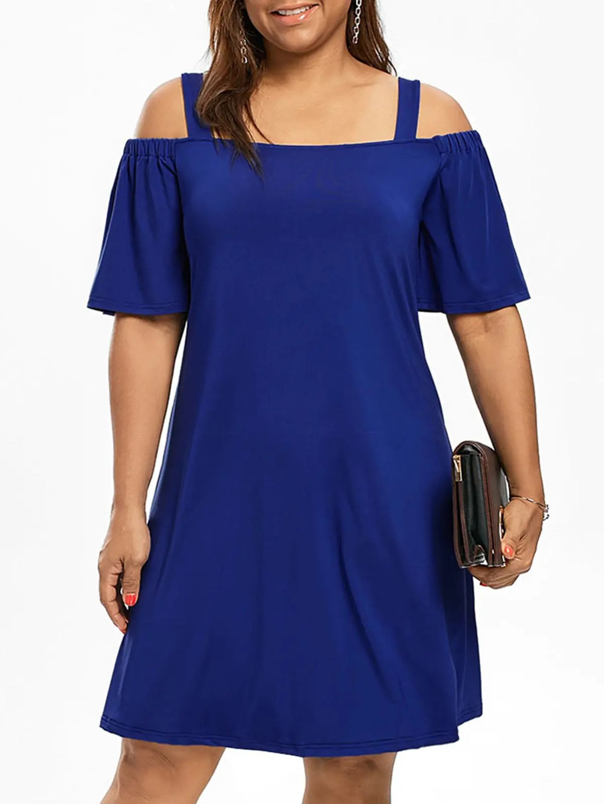 2018 Cold Shoulder Half Sleeve Plus Size Dress In Blue 5xl