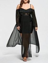 2018 Plus Size Cold Shoulder Flowing Evening Gothic Dress