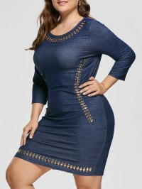 2019 Jean Long Sleeve Plus Size Embellished Sheath Fitted ...