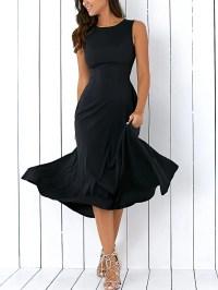 2018 Long A Line Sleeveless Semi Formal Plain Prom Dress ...