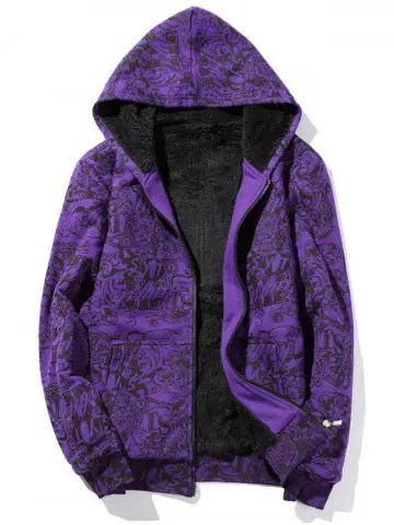 Purple 2xl Zip Up Print Flocking Hoodie  RoseGalcom