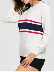 Crew Neck Striped Jumper Sweater - WHITE S
