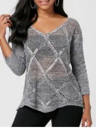 Marled V Neck Openwork Sweater - GRAY ONE SIZE