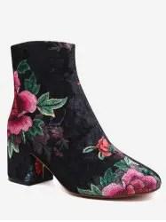 Floral Pattern Velvet Short Boots