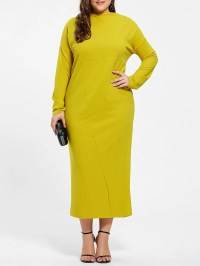2018 Plus Size Long Sleeve Fitted Midi Dress In Bluish ...