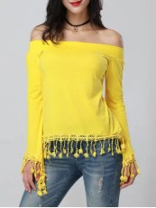 Off The Shoulder Top with Tassel Trim