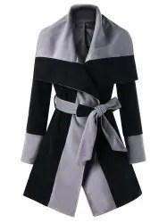 Wrap Color Block Lapel Coat