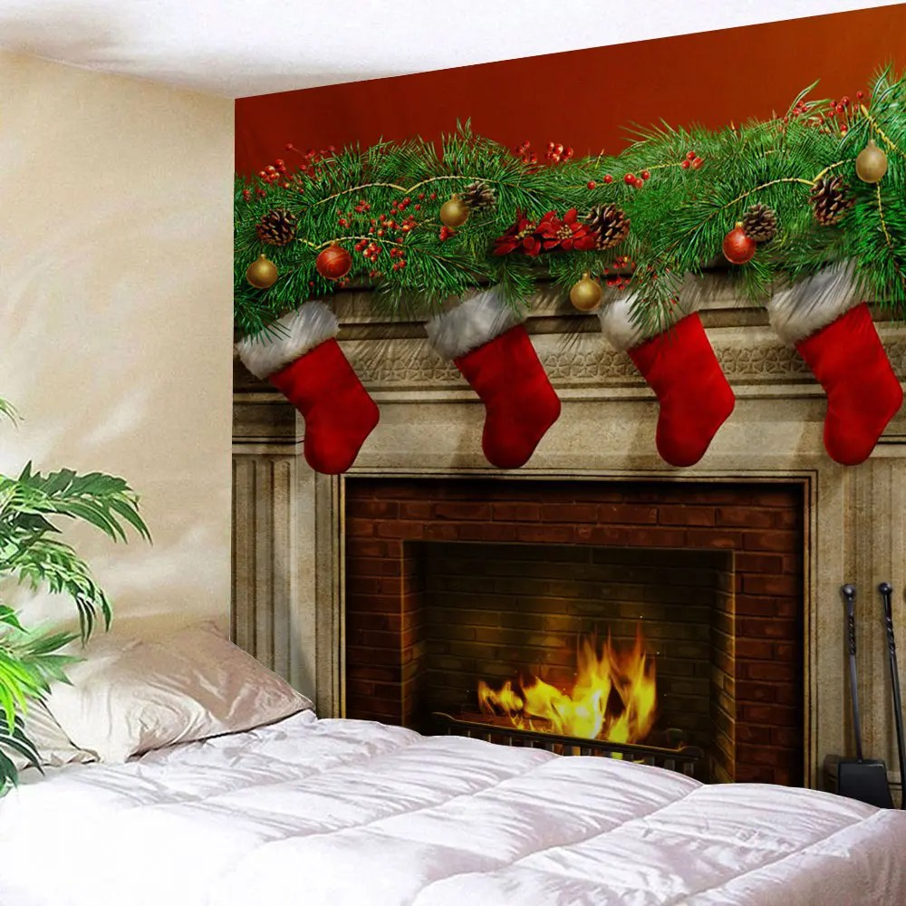 Colormix W91 Inch * L71 Inch Christmas Fireplace Print