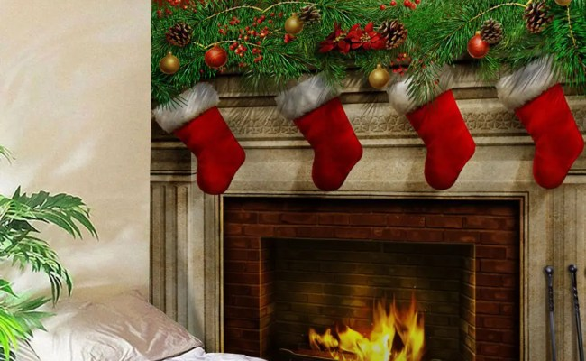 54 Off Christmas Fireplace Print Tapestry Wall Hanging