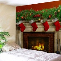 Colormix W91 Inch * L71 Inch Christmas Fireplace Print ...