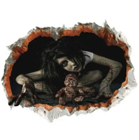 Affordable Halloween Zombie 3D Broken Wall Sticker For Living Room BLACK