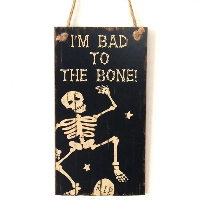 2019 Halloween Skeleton Pattern Door Decor Wooden Hanging