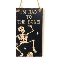2019 Halloween Skeleton Pattern Door Decor Wooden Hanging