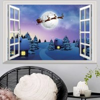 2018 Window Snowy Christmas Night 3d Wall Art Sticker In ...