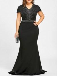 2018 Rhinestone Maxi Plus Size Formal Dress In Black 3xl ...