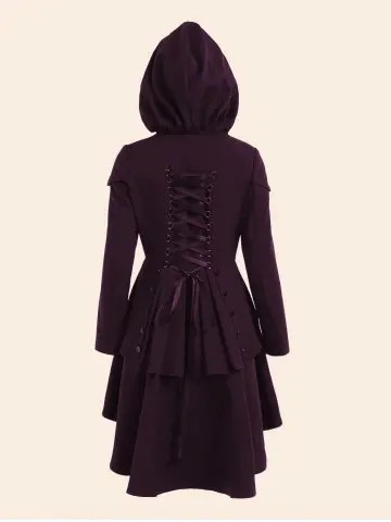 Lace Up High Low Plus Size Hooded Coat