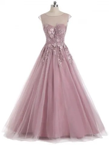 Sleeveless Floral Embroidered Mesh Yoke Evening Prom Dress