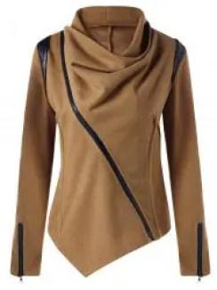 Zip Cuff Cowl Neck Asymmetrical Jacket - CAMEL 2XL