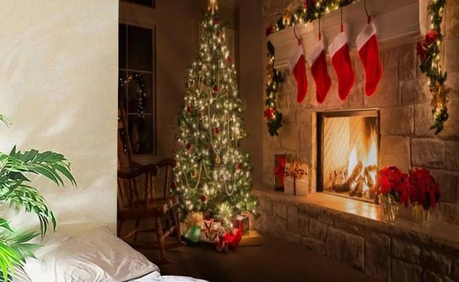 49 Off Wall Decor Christmas Fireplace Tree Pattern