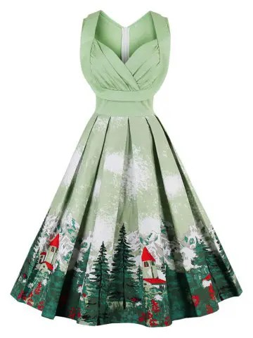 Christmas Vintage Forest Print Ruched Pin Up Dress